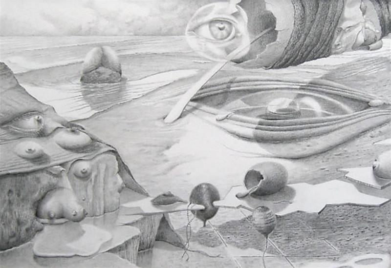 'Langzaam maar zeker' Thema: Evolutie Verkocht. 20 x 29, © 2007, verkocht Tweedimensionaal | Tekenkunst | Stift / Krijt / Potlood
