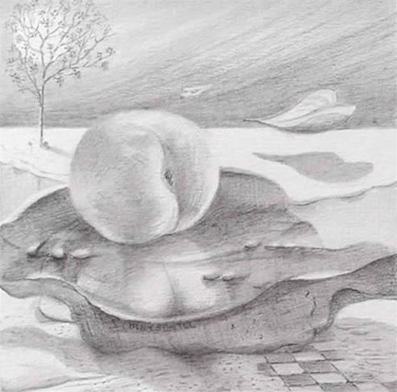 'Perzik' Een van de meest begunstige van alle Chinese en Japans bomen met symbolische betekenis, waarvan hout, bloesem en vruchten verbonden zijn met onsterfelijkheid, lang leven, lente, jeugd, huwelijk en beschermende magie. 12 x 12, © 2006, prijs op aanvraag Tweedimensionaal | Tekenkunst | Stift / Krijt / Potlood