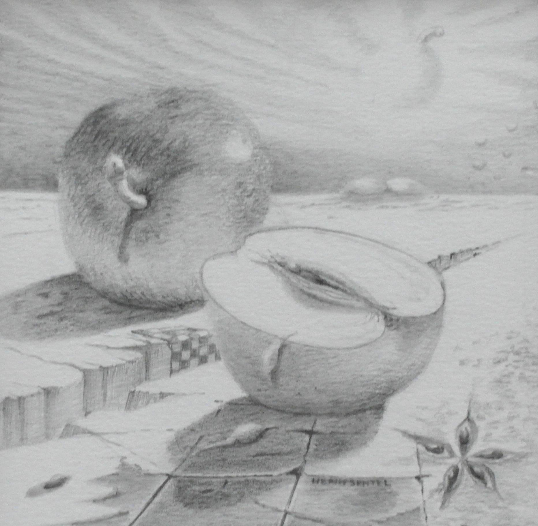 'Appel' Genot, vooral seksueel -een symboliek die mogelijk verband houdt met de vorm van een lengte doorsnede van het klokhuis die aan een vulva doet denken. De appel werd op veel plaatsen gebruikt als een symbool van liefde, huwelijk , lente, jeugd, vruchtbaarheid en een lang leven of onsterfelijkheid- en in de christelijke traditie daarom ook voor verleiding. 12 x 12, © 2006, prijs op aanvraag Tweedimensionaal | Tekenkunst | Stift / Krijt / Potlood
