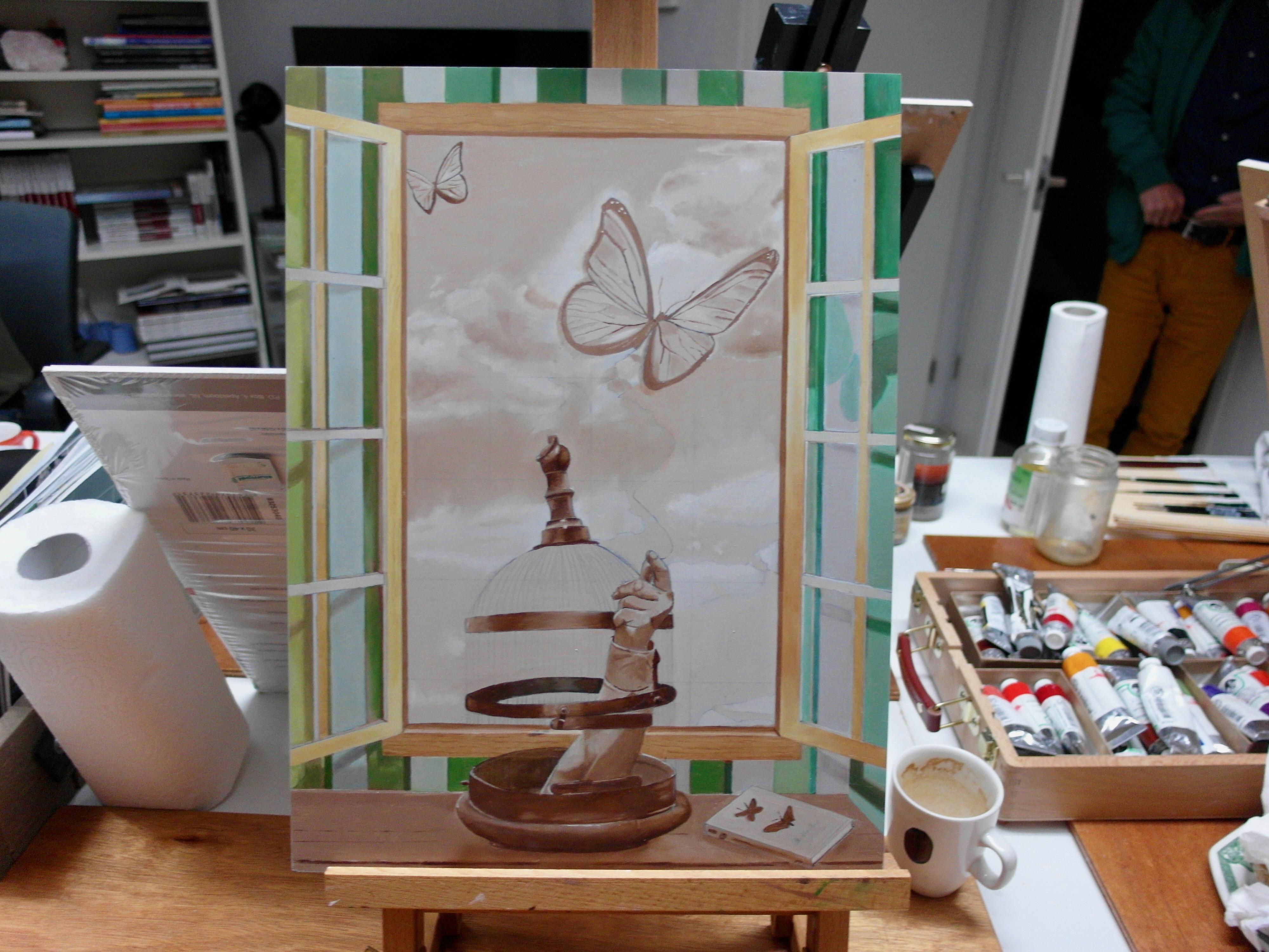 Je hebt gekeken naar een aantal stappen in het gehele schilderproces.