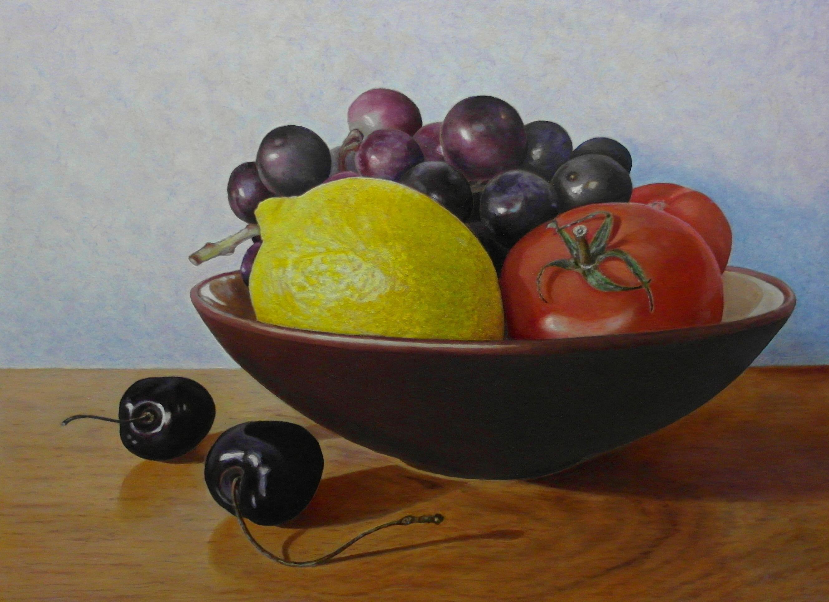 Piet zijn eerste eind werkstuk, geheel opgebouwd volgens het concept van de aangeboden basis cursus fijnschilder techniek.