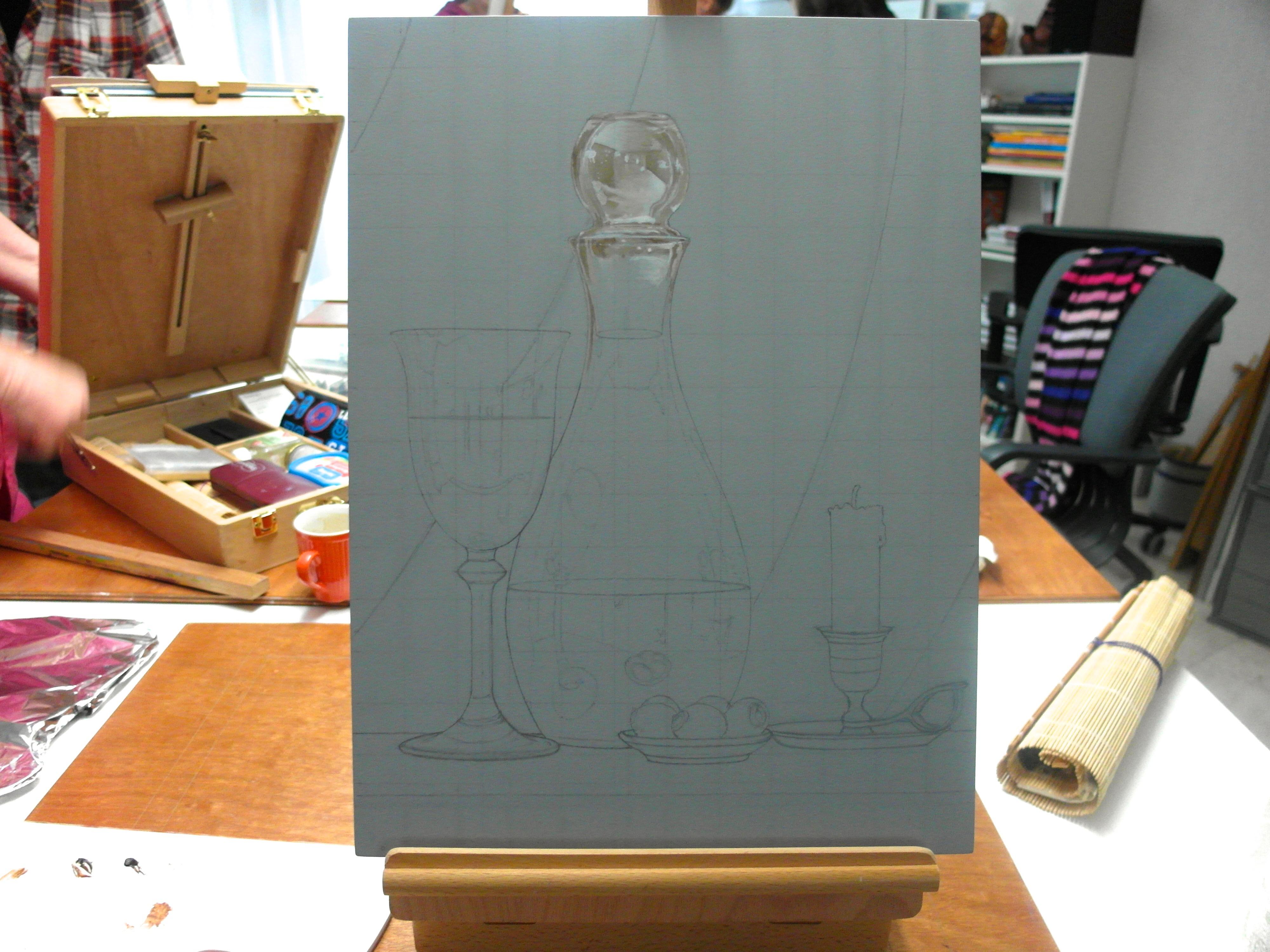 Piet zijn tweede werkstuk, let vooral op de geraffineerde werking van het glas en andere attributen van deze eigen compositie.