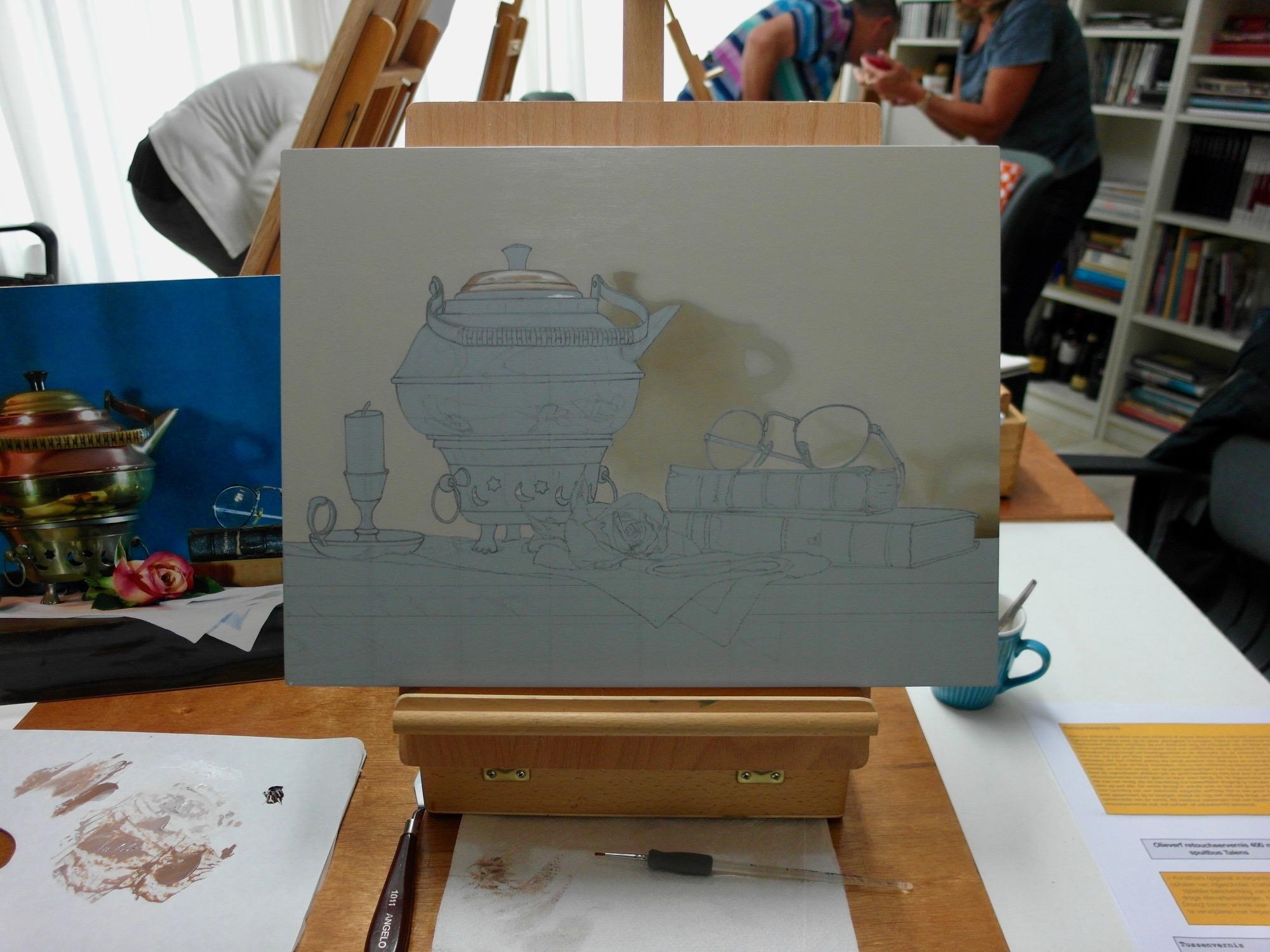 Opzet vierde fijnschilder werkstuk.