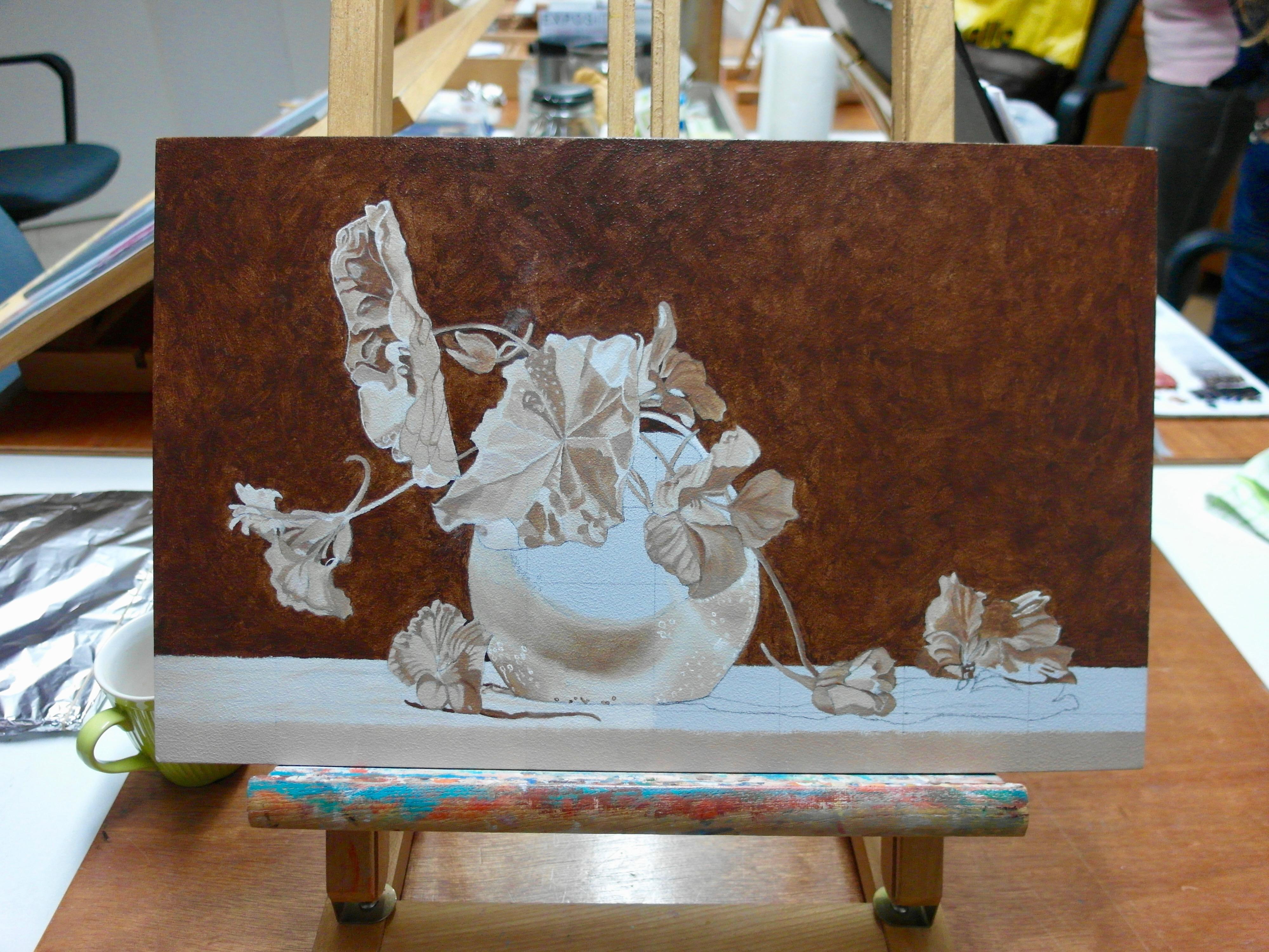 Bloemstilleven/eigen compositie/onderschildering