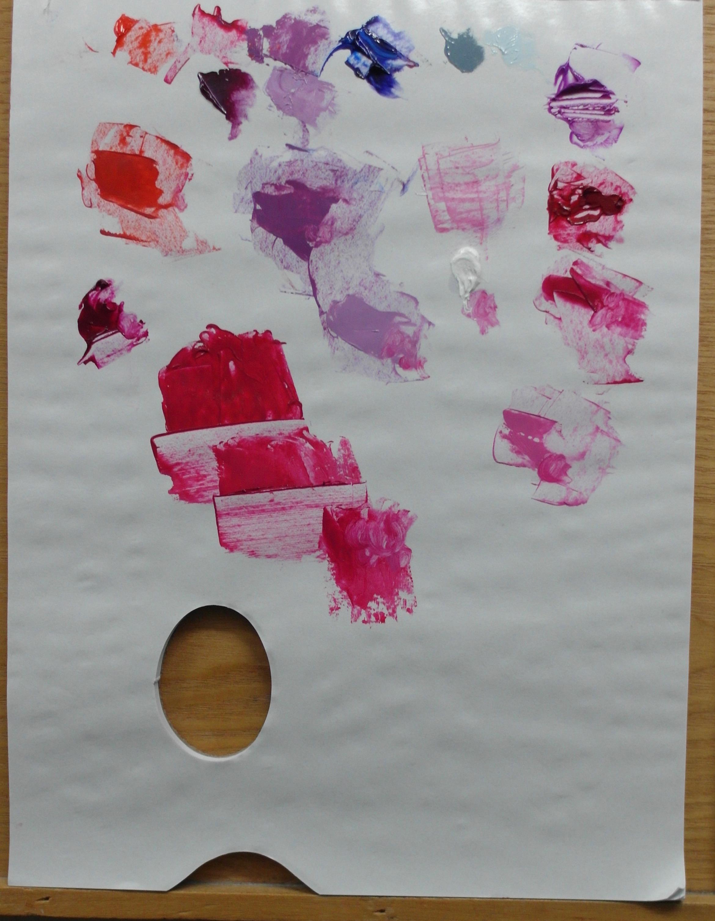 Kleuren palet voor recent schilderij