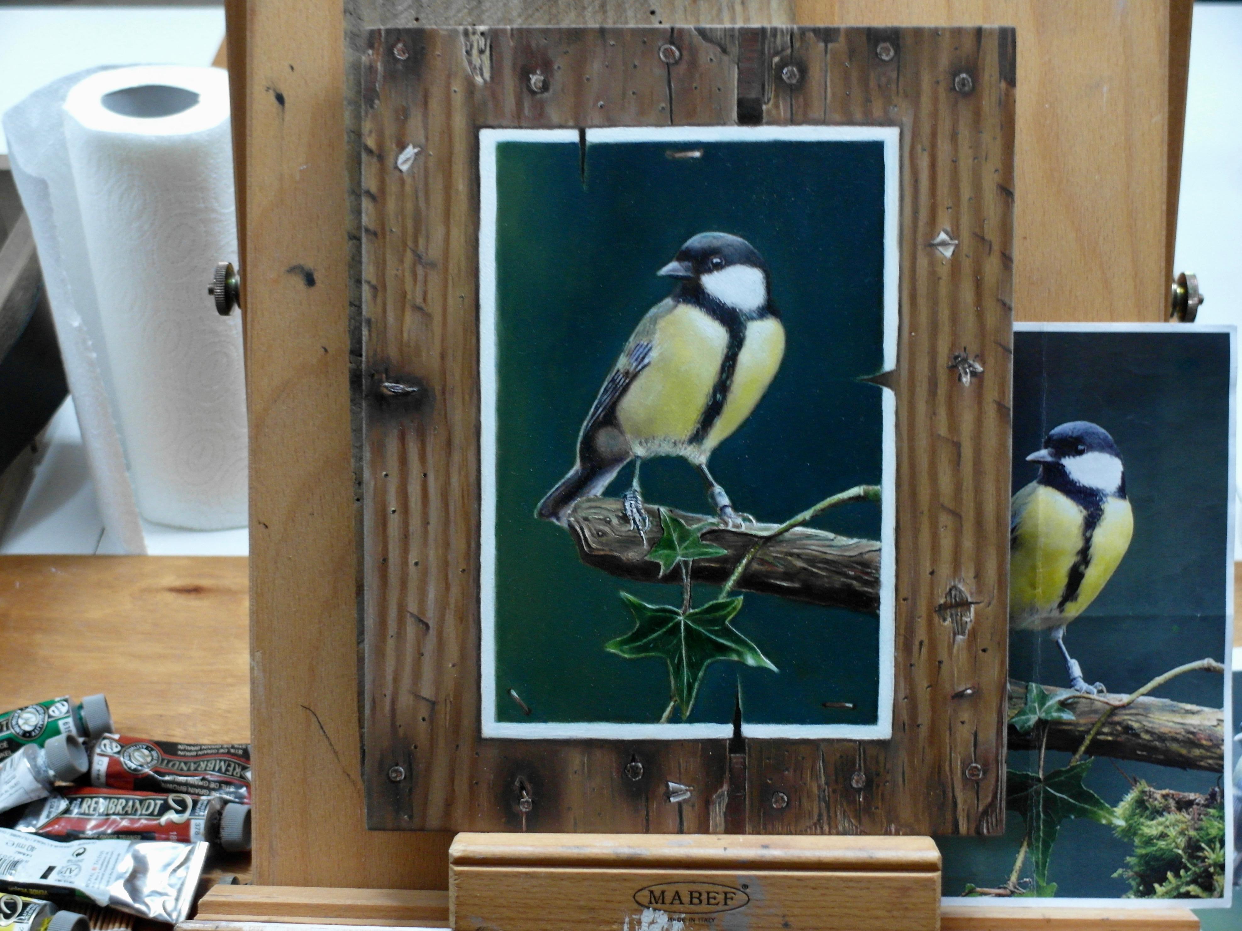 Theo/ compositie naar voorbeeld foto/ met eigen inbreng houtstructuur