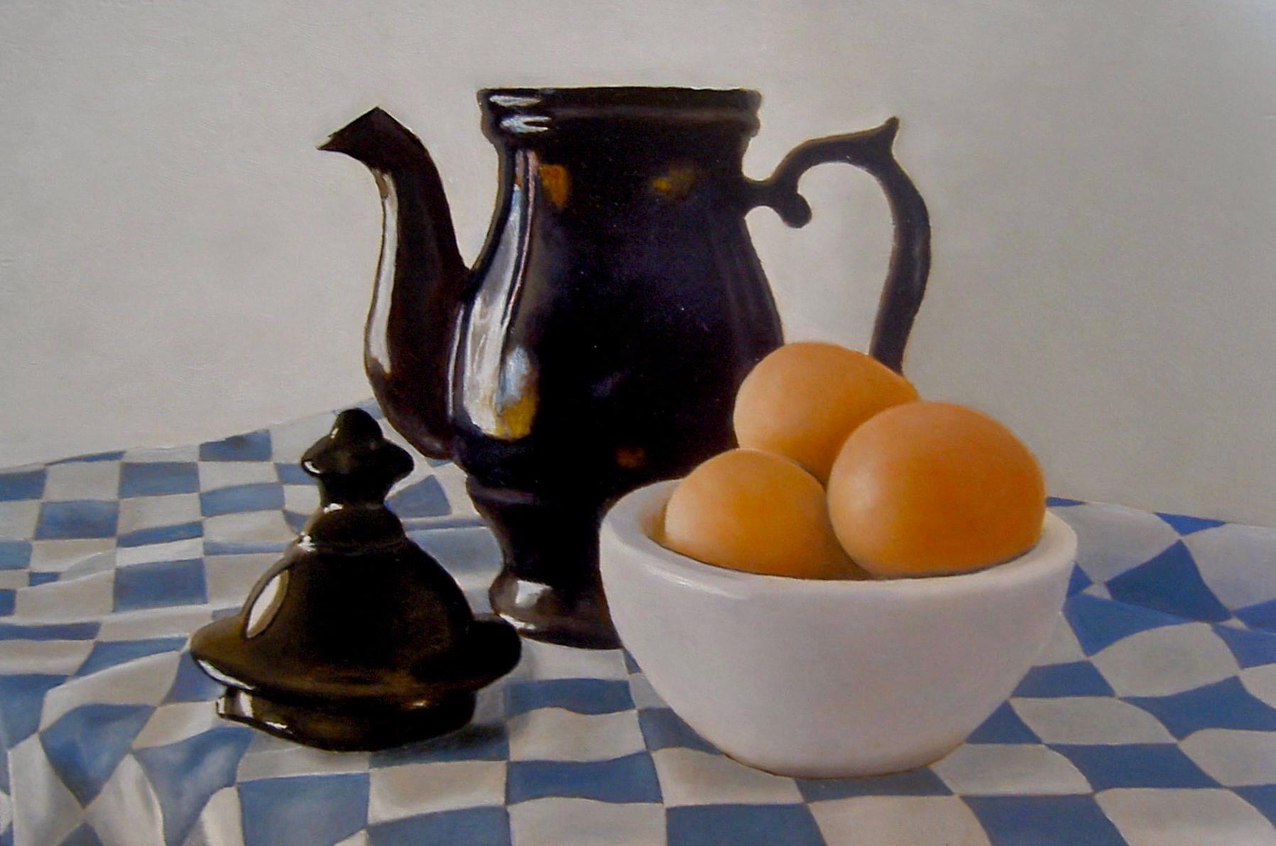 Een schitterend mooi werk van Bea Dekker- oud cursist, het kleine theepotje geeft een prachtig contrast in de evenwichtige compositie t.o.v het schaaltje met eieren en de geruite theedoek. (klik op een van de pijltjes)