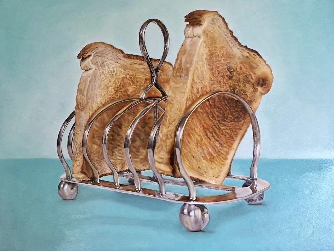 Geroosterde toast! Eigen compositie. Via basis techniek fijnschilderen, fantastische textuurverbeelding.