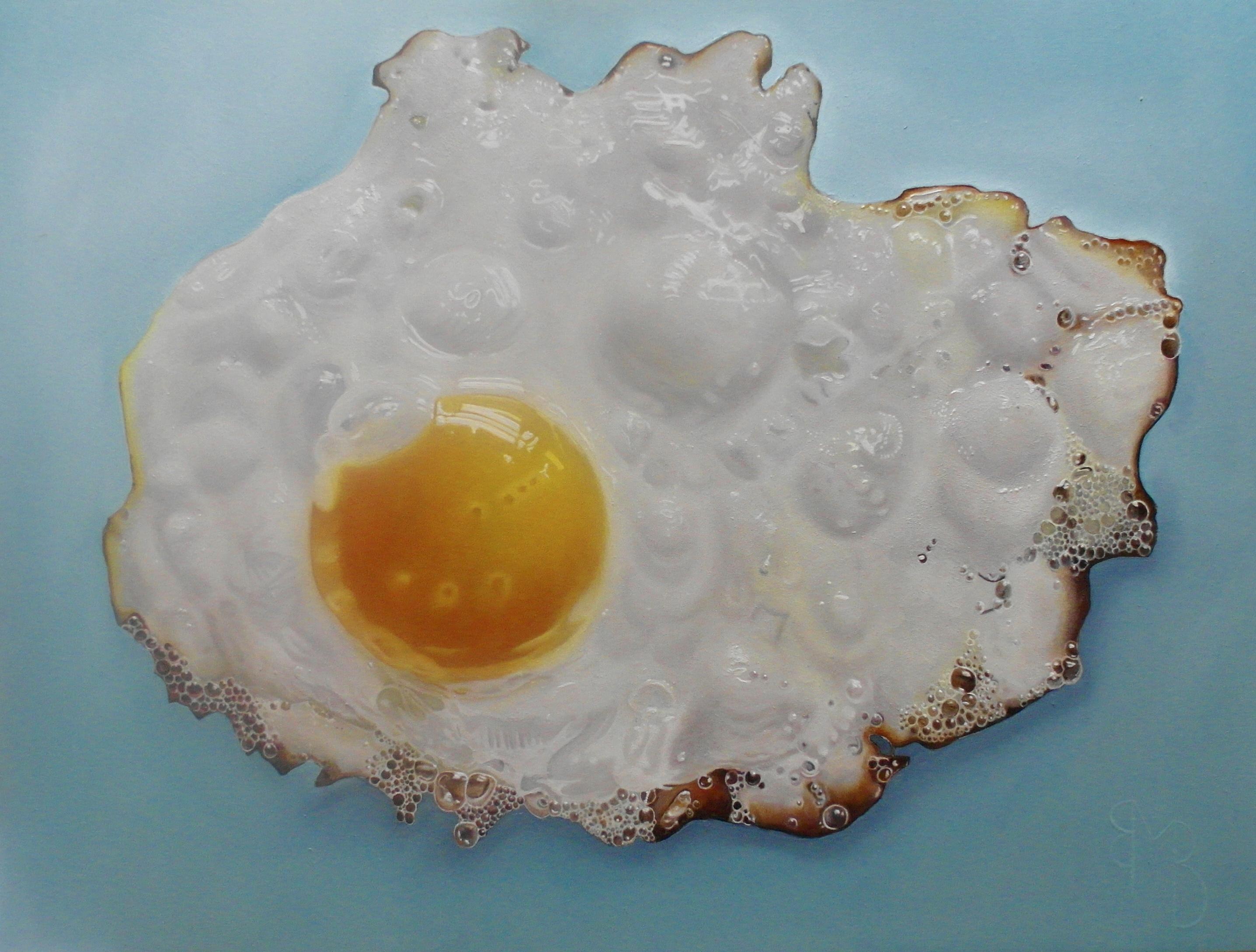 Een eigen gebakken eitje, geinspireerd door Tjalf Sparnaay, basis techniek fijnschilderen.