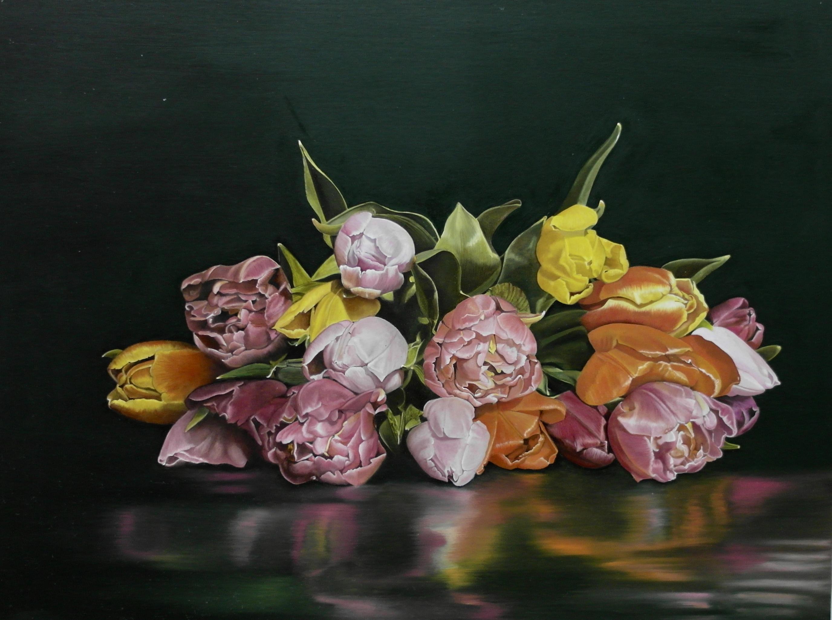 Prachtige bos tulpen, eigen compositie, via basis techniek fijnschilderen
